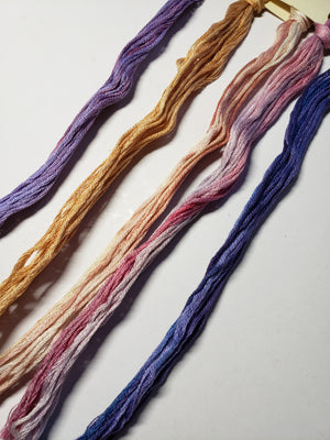 Hand Dyed Cotton 6 Strand Thread - Limited Edition Bushel of Fruit - Gentle Art Cotton Threads - 5 skeins of 5 yards