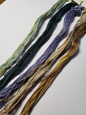 Hand Dyed Cotton 6 Strand Thread - Limited Edition Camp Out Bag - Gentle Art Cotton Threads - 5 skeins of 5 yards