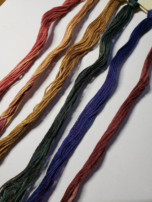 Hand Dyed Cotton 6 Strand Thread - Limited Edition Cornucopia - Gentle Art Cotton Threads - 6 skeins of 5 yards