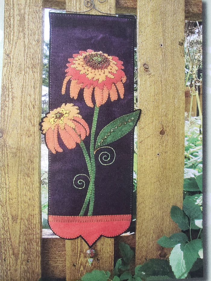 Hot Papaya Coneflower Wallhanging - Wool Applique Kit - Wooly Lady