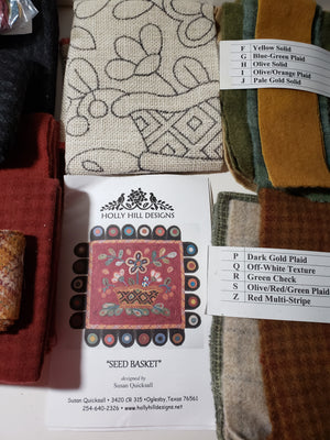 Seed Basket Rug Hooking Kit with Wool Applique Penny Tongues - Susan Quicksall