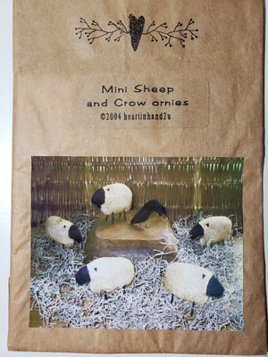 Mini Sheep and Crow Ornies  - Pattern for Stuffie