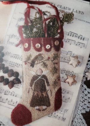 Yuletide Stocking - Punch Needle Pattern by Brenda Gervais #250