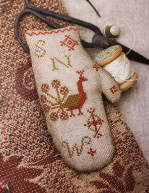 MITTEN PINKEEP Cross Stitch Kit - Stacy Nash Primitives Cross Stitch