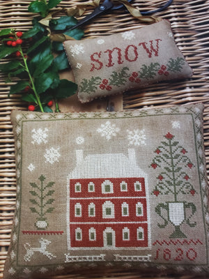 SNOWED IN  Pinkeep and Ornament Cross Stitch Kit - Stacy Nash Primitives Cross Stitch