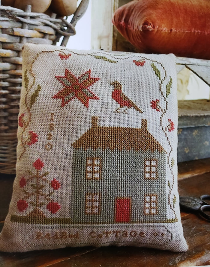 ROSEBUD COTTAGE PINKEEP Cross Stitch Kit - Stacy Nash Primitives Cross Stitch