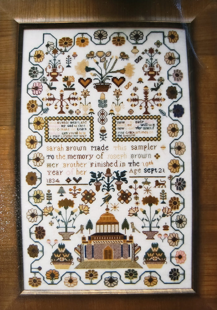 SARAH BROWN 1834 MEMORIAL SAMPLER Cross Stitch Kit - The Scarlet Letter Cross Stitch
