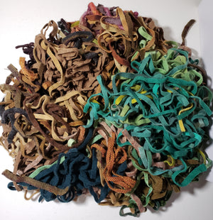 MIX BAG of Green and Brown Wool Strips/Worms #8 for Rug Hooking - 1/2 yard plus.