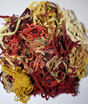 MIX BAG of Reds and Golds Wool Strips/Worms #8 for Rug Hooking - 1/2 yard.