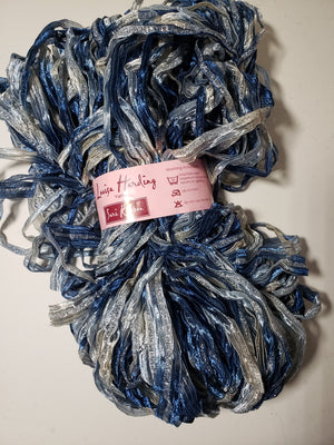 Blue & Silver Sparkle Sari Ribbon for Rug Hooking
