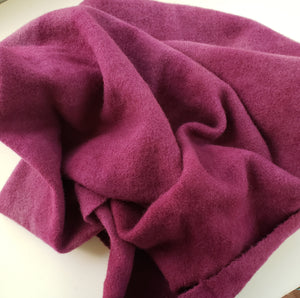 Hand Dyed Studio Cloth - MAJESTIC MAGENTA LIGHT  - Shades of Violet Red Overdyed on Plaid -  Wool Fabric for Rug Hooking and Wool Applique - RSS189