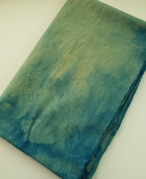 STORM'S A COMING - Shades of Blue/Green Mottled -  Wool Fabric Hand Dyed in Studio - RSS190