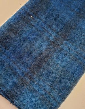 OCEAN CURRENT - Shades of Blue on Plaid -  Wool Fabric Hand Dyed in Studio - RSS191