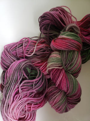 ROSY POSEY -  Hand Dyed Pink, Red, Green and Cream Aran Yarn for Rug Hooking - RSS193