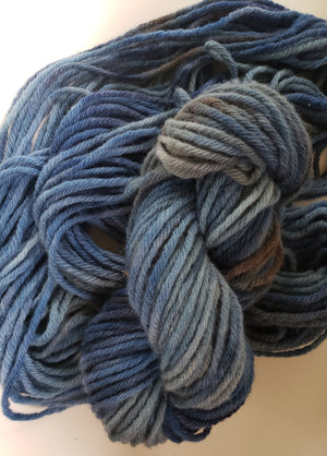 BY THE LAKE -  Hand Dyed Blue Aran/Chunky Yarn for Rug Hooking - RSS194