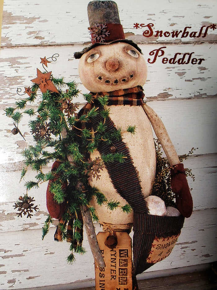 WYNTER SNOWBALL PEDDLER - Paper Pattern for Primitive Cloth Snowman by Back Porch Pickins
