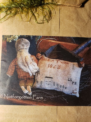 XMAS TYME - Paper Pattern for Cross Stitch Sampler & Primitive Santa Doll - Notforgotten Farm
