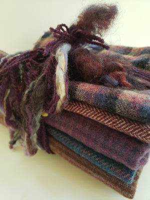 SANGRIA HAPPY HOUR - Wool Bundle of Purple Shades - one yard - 100% Wool for Rug Hooking & Wool Applique - RSS196