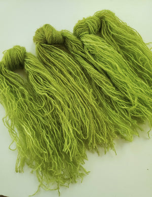 MOSS  - Mohair Strands - Hand Dyed Textured Yarn - Shades of Green