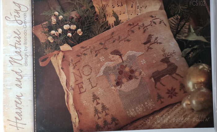 HEAVEN and NATURE SING CS102 - Paper Pattern for Christmas Cross Stitch Pillow -  Country Stitches