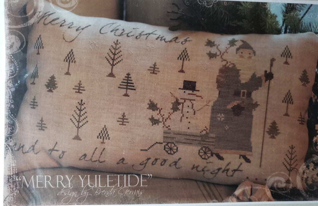 MERRY YULETIDE CS103 - Paper Pattern for Christmas Cross Stitch Pillow -  Country Stitches