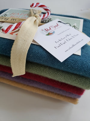 Hand Dyed Studio Cloth Bundles - VINTAGE CHRISTMAS SPARKLE Bundle - 3/4 yard - 100% Wool for Rug Hooking & Wool Applique