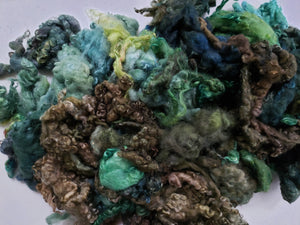 Fleece Locks - Shades of Green - Hand Dyed Textured Sheep Locks OOAK