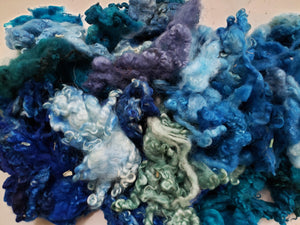 Fleece Locks - Shades of Blue - Hand Dyed Textured Sheep Locks OOAK