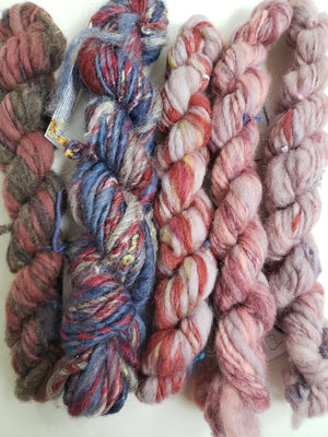 Hand Spun Yarn for Rug Hooking - SET PINK/GREY - OOAK