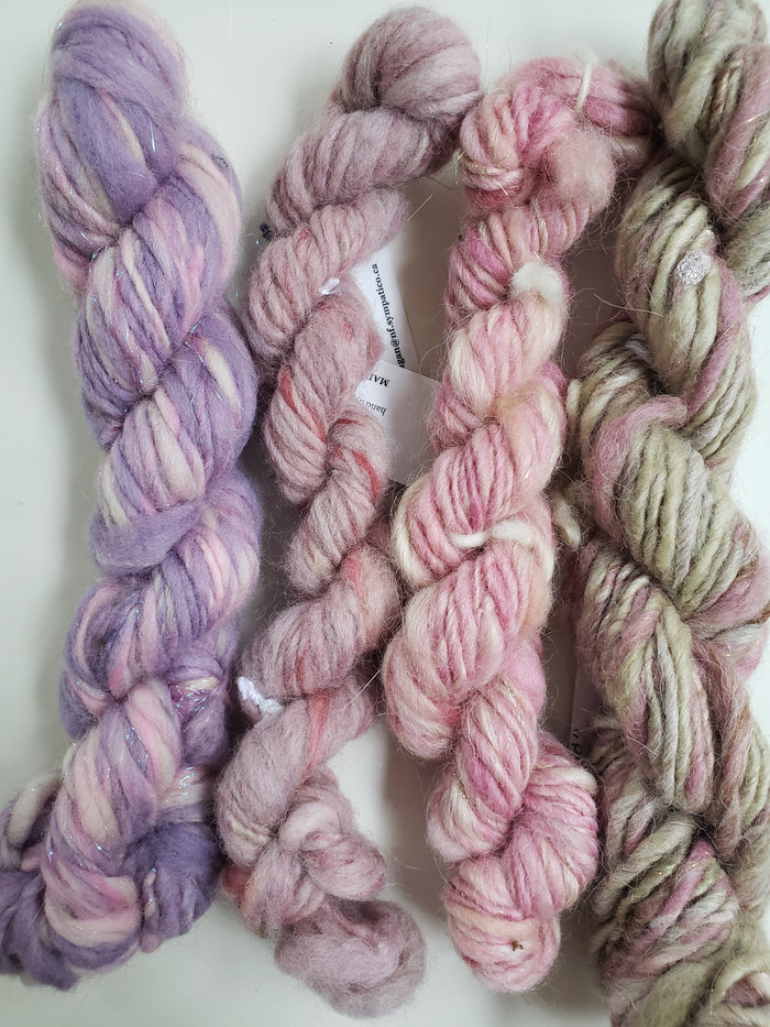 Hand Spun Yarn for Rug Hooking - SET PINK/LAVENDER/CREAM - OOAK