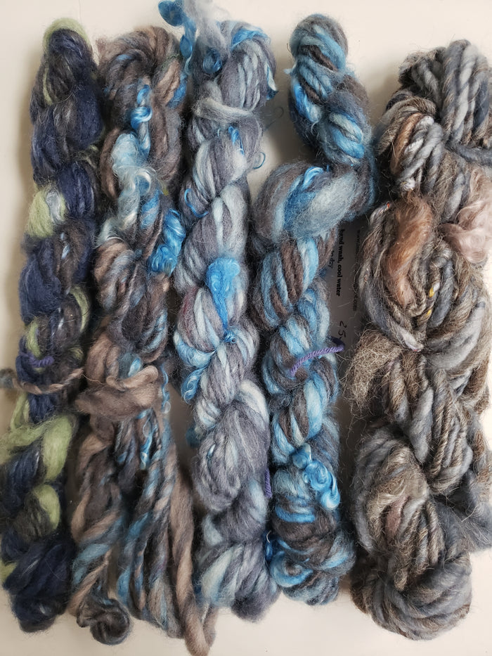 Hand Spun Yarn for Rug Hooking - SET BLUE/GREY - OOAK