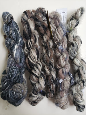 Hand Spun Yarn for Rug Hooking - Set DARK NEUTRALS - OOAK