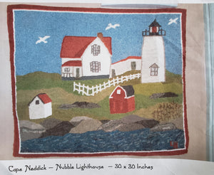 CAPE NEDDICK LIGHTHOUSE -  Rug Hooking Pattern on Linen - Destash
