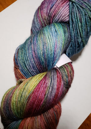CHRISTMAS VACATION - Hand Dyed Worsted Yarn for Rug Hooking - Variegated Shades of Blue/Green/Purple