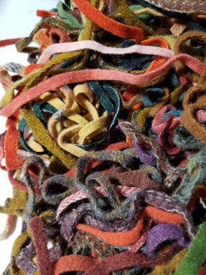FALL FOLIAGE Mix Assorted 1/4 Yard - Wool Strips/Worms #8 and #6 for Rug Hooking