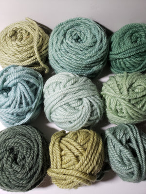 GREEN MIX - Hand Dyed Rug Yarn -  Shades of Green for Rug Hooking and Punch Hooking