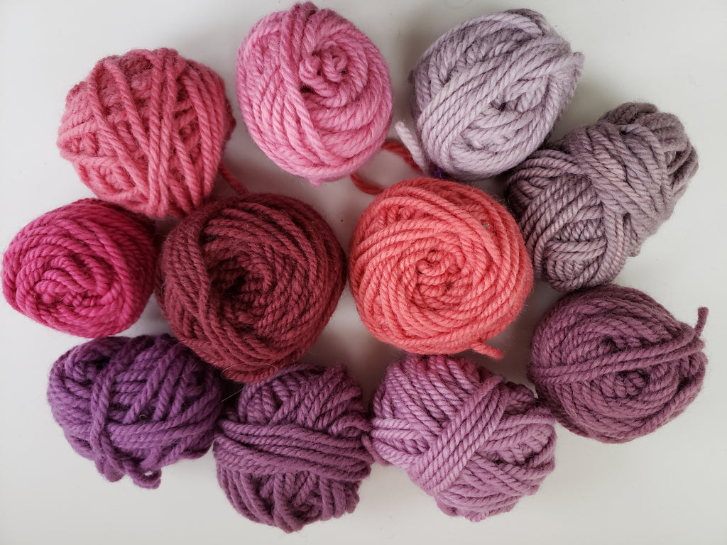 PINK/LAVENDER - Hand Dyed Rug Yarn -  Shades of Pink for Rug Hooking and Punch Hooking