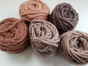 BROWN/TAUPE- Hand Dyed Rug Yarn -  Shades of Brown for Rug Hooking and Punch Hooking