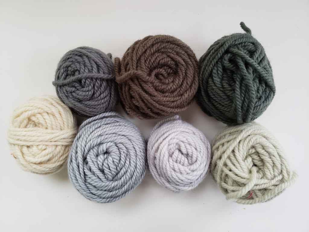 NEUTRALS- Hand Dyed Rug Yarn - Shades of Grey and White - Rug Hooking and Punch Hooking