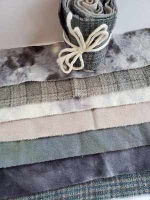 WINTER GREY - Wool Jelly Roll Bundle - Hand Dyed Fabric - 100% Wool for Rug Hooking & Wool Applique - RSS272
