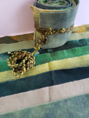 FIELD GREENS - Wool Jelly Roll Bundle - Hand Dyed Fabric - 100% Wool for Rug Hooking & Wool Applique - RSS266