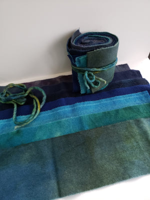 OCEAN BLUES - Wool Jelly Roll Bundle - Hand Dyed Fabric - 100% Wool for Rug Hooking & Wool Applique - RSS267