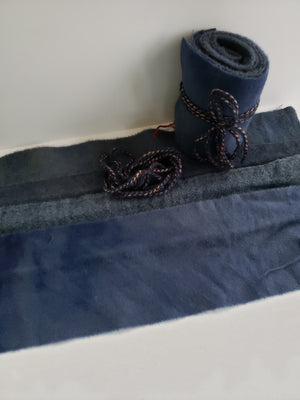 DEEP SEA BLUE - Wool Jelly Roll Bundle - Hand Dyed Fabric - 100% Wool for Rug Hooking & Wool Applique - RSS265