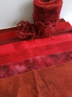 HEART RED - Wool Jelly Roll Bundle - Hand Dyed Fabric - 100% Wool for Rug Hooking & Wool Applique - RSS270