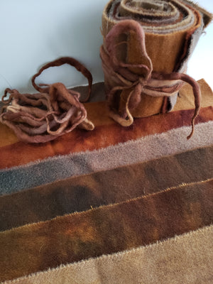 EARTHY BROWN - Wool Jelly Roll Bundle - Hand Dyed Fabric - 100% Wool for Rug Hooking & Wool Applique - RSS273