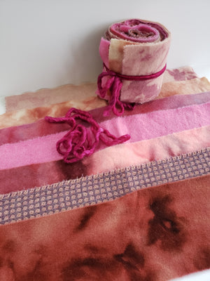 PETAL PINK - Wool Jelly Roll Bundle - Hand Dyed Fabric - 100% Wool for Rug Hooking & Wool Applique - RSS271