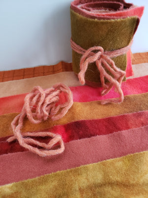 CITRUS ORANGE - Wool Jelly Roll Bundle - Hand Dyed Fabric - 100% Wool for Rug Hooking & Wool Applique - RSS264