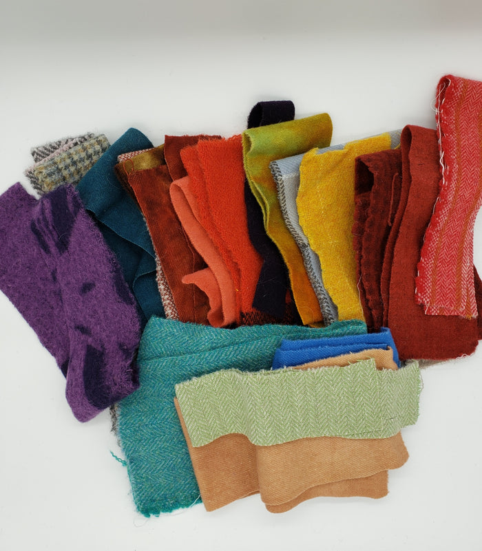 WOOL CLOTH MYSTERY GRAB BAG - Wool Bundle of Assorted Fabric - 10 ounces - 100% Wool for Rug Hooking & Wool Applique OOAK