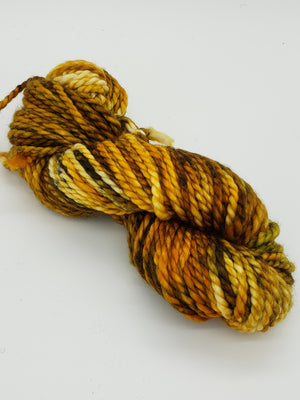 SUNFLOWERS - BIG TWISTY 2 PLY -  Hand Dyed Shades of Yellow, Brown, Rust and Green Chunky Yarn for Rug Hooking - RSS256