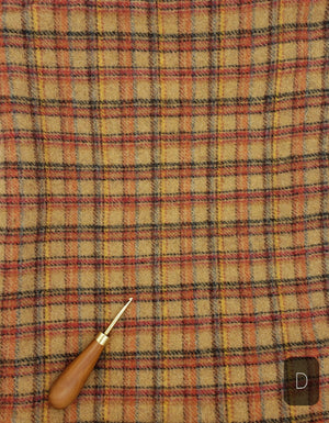 RED BLUE BEIGE PLAID #277D - Washed and Felted 1/2 yard - Ready to use Wool Fabric for Rug Hooking or Wool Applique